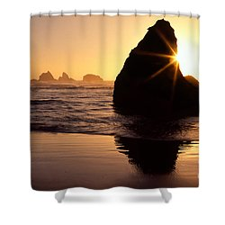 Bandon Golden Moment Shower Curtain by Inge Johnsson