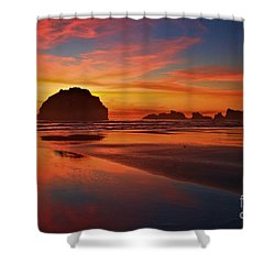 Bandon Sunset Spectacular Shower Curtain by Adam Jewell