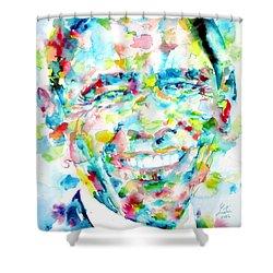Barack Obama - Watercolor Portrait Shower Curtain by Fabrizio Cassetta