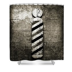 Barber Pole Black And White Shower Curtain by Andee Design