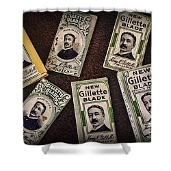 Barber - Vintage Gillette Razor Blades Shower Curtain by Paul Ward