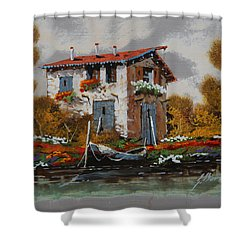 Barca Al Molo Shower Curtain by Guido Borelli