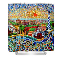 Barcelona View At Sunrise - Park Guell  Of Gaudi Shower Curtain by Ana Maria Edulescu