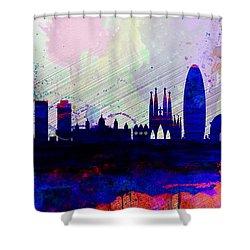 Barcelona Watercolor Skyline 2 Shower Curtain by Naxart Studio