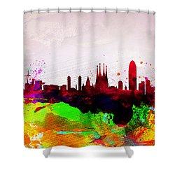 Barcelona Watercolor Skyline Shower Curtain by Naxart Studio