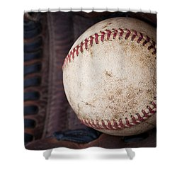 Baseball And Glove Shower Curtain by David Patterson