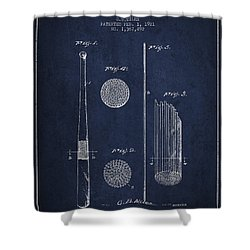 Baseball Bat Patent Drawing From 1921 Shower Curtain by Aged Pixel