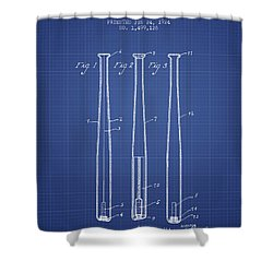 Baseball Bat Patent From 1924 - Blueprint Shower Curtain by Aged Pixel