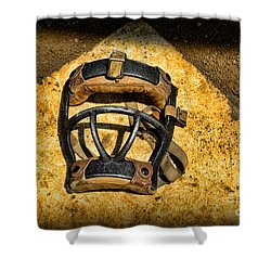 Baseball Catchers Mask Vintage  Shower Curtain by Paul Ward