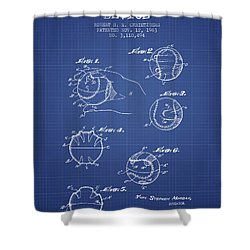 Baseball Cover Patent From 1963- Blueprint Shower Curtain by Aged Pixel