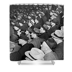 Baseball Fans At Yankee Stadium For The Third Game Of The World Shower Curtain by Underwood Archives