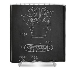 Baseball Glove Patent Drawing From 1922 Shower Curtain by Aged Pixel