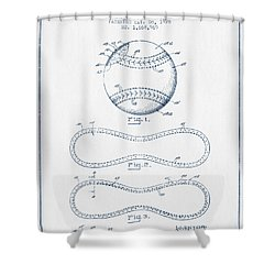 Baseball Patent Drawing From 1928 - Blue Ink Shower Curtain by Aged Pixel