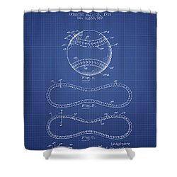Baseball Patent From 1928 - Blueprint Shower Curtain by Aged Pixel