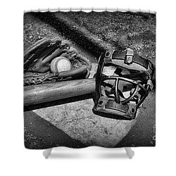 Baseball Play Ball In Black And White Shower Curtain by Paul Ward