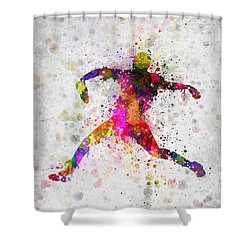 Baseball Player - Pitcher Shower Curtain by Aged Pixel