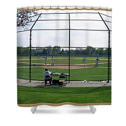 Baseball Playing Hard 3 Panel Composite 01 Shower Curtain by Thomas Woolworth
