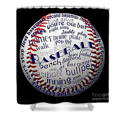 Baseball Terms Typography 1 Shower Curtain by Andee Design