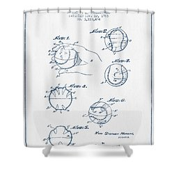 Baseball Training Device Patent Drawing From 1963 - Blue Ink Shower Curtain by Aged Pixel