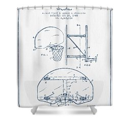 Basketball Goal Patent From 1944 - Blue Ink Shower Curtain by Aged Pixel