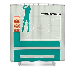 Basketball Poster Shower Curtain by Naxart Studio