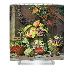 Baskets Of Summer Fruits Shower Curtain by William Hammer