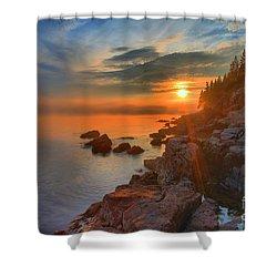 Bass Harbor Sunset Shower Curtain by Adam Jewell