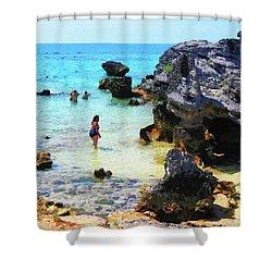 Bathing In The Ocean St. George Bermuda Shower Curtain by Susan Savad