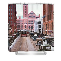 Bay Street Christmas Eve 1924 Shower Curtain by Kenneth M  Kirsch