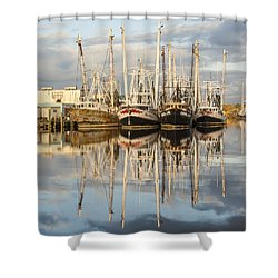 Bayou Labatre' Shrimp Boat Reflections 22 Shower Curtain by Jay Blackburn