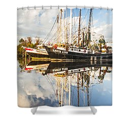 Bayou Labatre' Shrimp Boat Reflections 35 Shower Curtain by Jay Blackburn