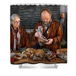 Bazaar - We Sell Fresh Mushrooms Shower Curtain by Mike Savad