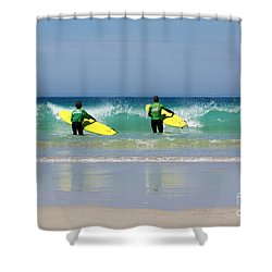 Beach Boys Go Surfing Shower Curtain by Terri Waters