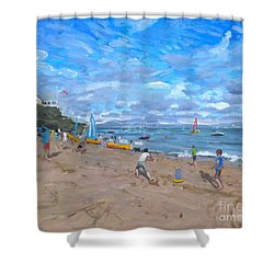 Beach Cricket Shower Curtain by Andrew Macara