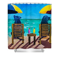 Beach Dogs Shower Curtain by Roger Wedegis