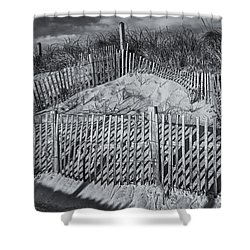 Beach Fence Bw Shower Curtain by Susan Candelario
