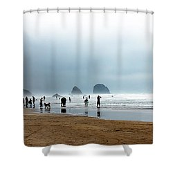 Beach Fun At Ecola  Shower Curtain by Robert Bales