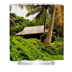 Beach Hut Painting Shower Curtain by Cheryl Young