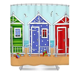Beach Huts Shower Curtain by Peter Adderley