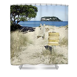 Beach Sign Shower Curtain by Les Cunliffe