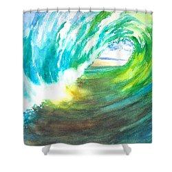 Beach View From Wave Barrel Shower Curtain by Carlin Blahnik