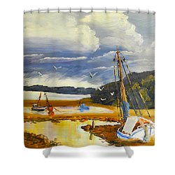 Beached Boat And Fishing Boat At Gippsland Lake Shower Curtain by Pamela  Meredith