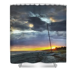 Beached For The Night Shower Curtain by Phill Doherty