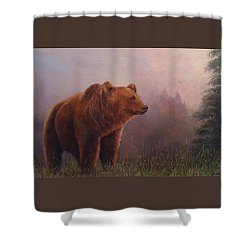Bear In The Mist Shower Curtain by Donna Tucker