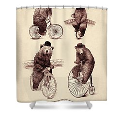 Bears On Bicycles Shower Curtain by Eric Fan