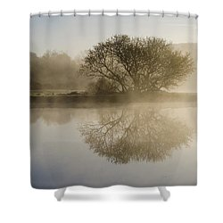 Beautiful Misty River Sunrise Shower Curtain by Christina Rollo