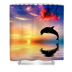 Beautiful Ocean And Sunset With Dolphin Jumping Shower Curtain by Michal Bednarek