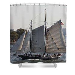 Beautiful Sailboat In Manhattan Harbor Shower Curtain by John Telfer