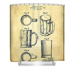 Beer Mug Patent Drawing From 1951 - Vintage Shower Curtain by Aged Pixel
