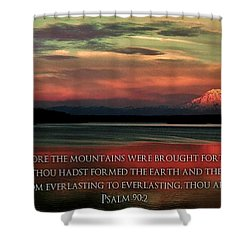 Before The Mountains Shower Curtain by Benjamin Yeager
